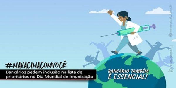 No Dia Mundial da Imunização, bancários reivindicam inclusão na lista de prioridade